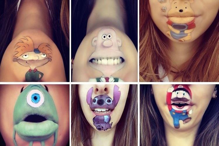 唇を上手に使ってキャラクターを描くメイクアップアーティスト作品27点