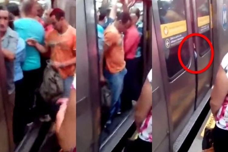 「ドア閉まりま~す」満員電車で男性には耐えられないモノがドアに挟まってしまった珍映像!