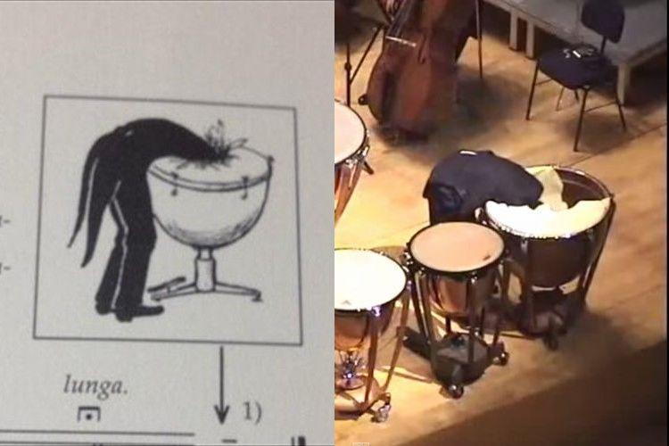 """オーケストラでティンパニが""""頭から突っ込んで破る""""という楽譜に忠実に演奏したことが話題に!"""