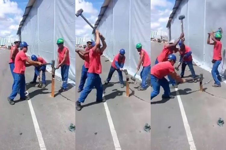 【動画】見よ、これが職人技だ!テンポよくハンマーを振り下ろす4人チームワークが見事!