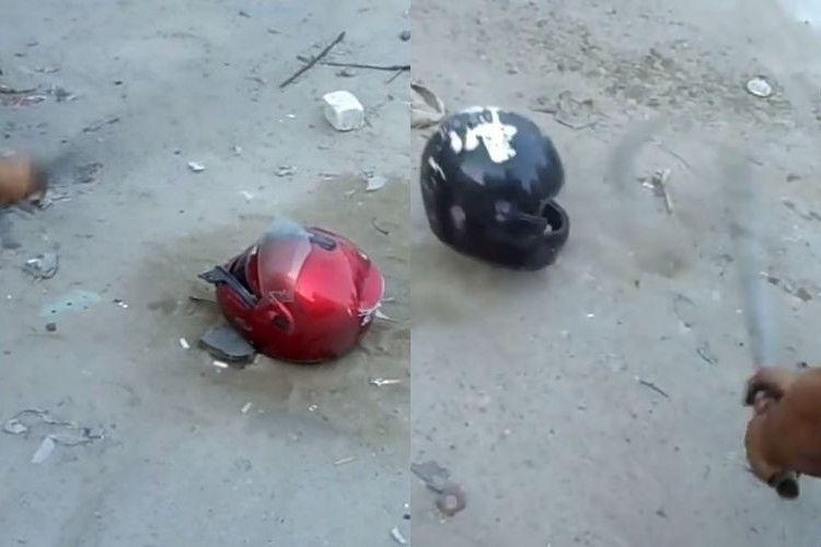 【衝撃映像】日本製と中国製のヘルメットを鉄パイプで叩き耐久性を比較してみた結果