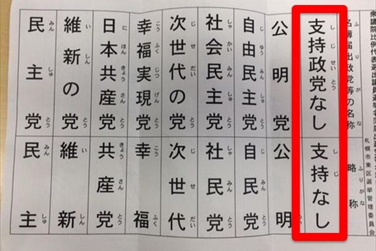 【注意】北海道比例で「支持なし」と投票すると「支持政党なし」を支持したことに!?