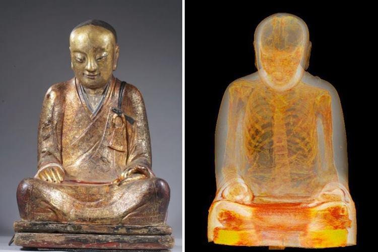 銅像をCTスキャンしたら中にはミイラが!1,100年前の僧侶のミイラと判明!