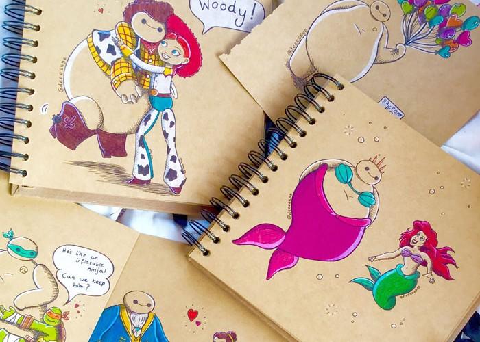 18歳女子が描いたディズニー作品とベイマックスのコラボがかわいい!