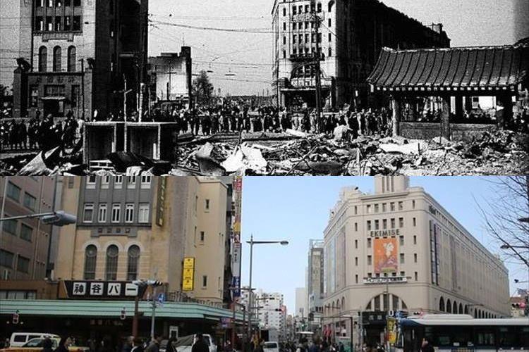 東京大空襲から70年、焼け野原となったその時と現在を比べた写真