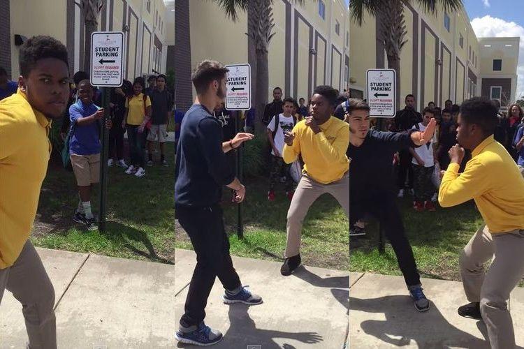 多くの生徒が見守る中、高校生同士のガチ喧嘩!?と思いきや衝撃の展開にほっこり
