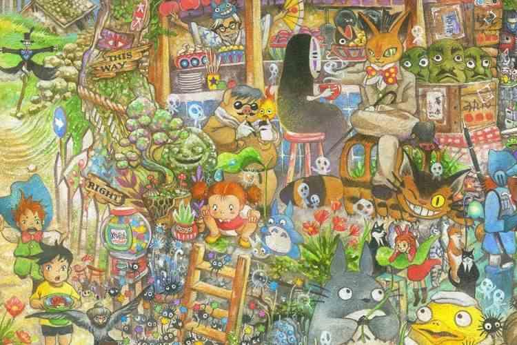 トトロや魔女の宅急便などジブリアニメのキャラクターが大集合した板絵が海外で話題に
