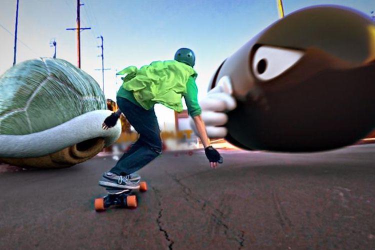 """""""マリオカート""""ならぬ""""マリオスケートボード""""まるでゲームの世界へ入ったようなパロディ動画がスゴすぎんよ!"""