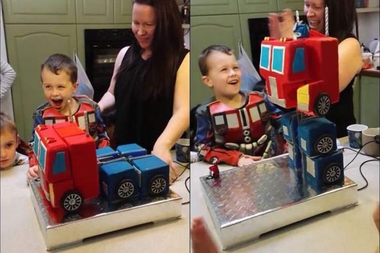 トラックが巨大なロボットに変身!トランスフォーマーの誕生日ケーキがカッコよすぎる