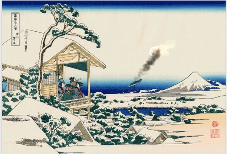 東海道五十三次にセグウェイが。GIFアニメで動く浮世絵の世界が面白い!