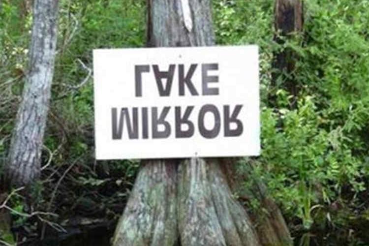 湖面上では「MIRROR LAKE(鏡の湖)」と読める標識などユニークな標識集