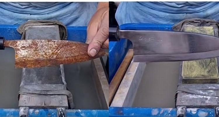 これぞ職人技!ボロボロに錆びた出刃包丁をピカッピカに!