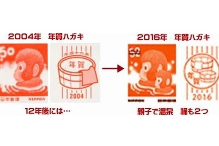 """2016年の年賀状の絵柄発表!""""12年前のお猿さんにある変化""""があり話題に!"""