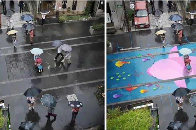 地面が雨で濡れるとカラフルに!暗い気分を吹き飛ばす素敵なアイディアが話題に!