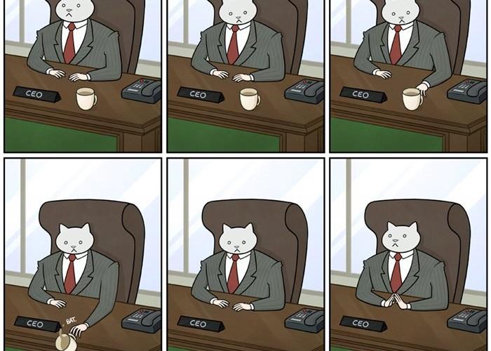 猫を飼っている人なら共感できるシュールなコミック「THE ADVENTURES OF BUSINESS CAT 」が面白い