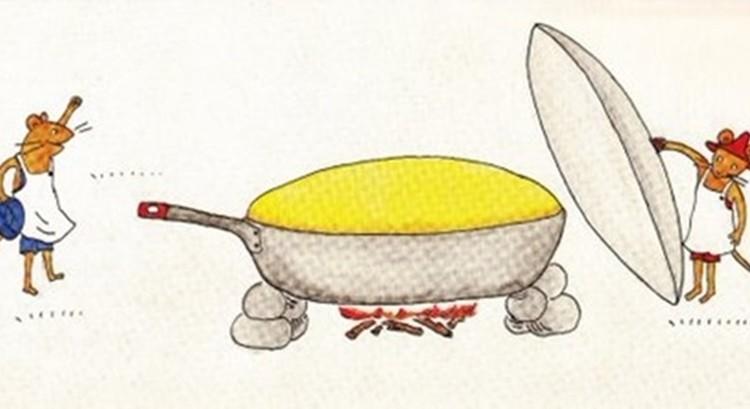 """""""ぐりとぐら""""のカステラ風厚焼きホットケーキを作ってみたらとっても美味しそう!"""