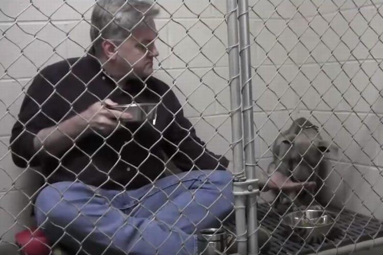 「安心してボクは味方だよ」怯える犬のためにケージで一緒に食事をする獣医 さんに感動