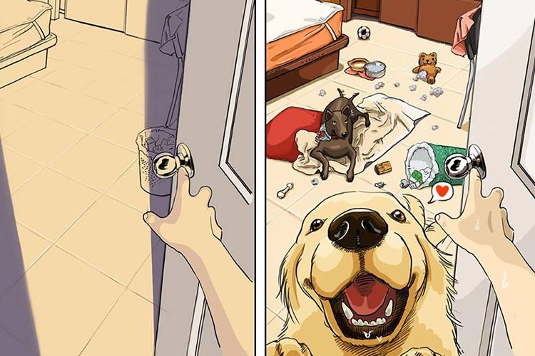【犬のいる生活】暮らしが一変!?『犬を飼う前、飼った後』を表したイラストが面白い!