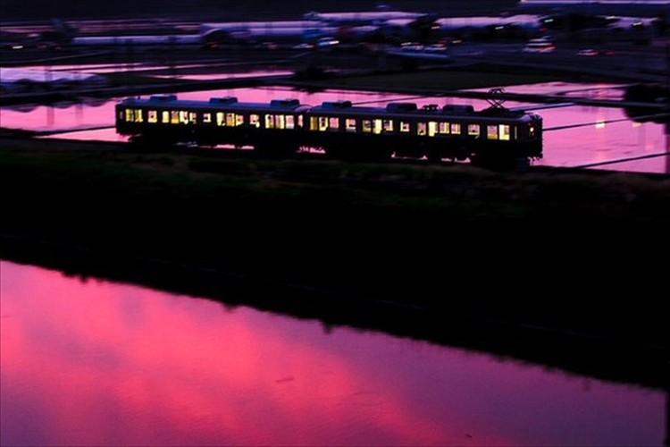 【奇跡の瞬間】夕焼けが反射し一面ピンクに…そこを偶然走り抜ける「西鉄313形」