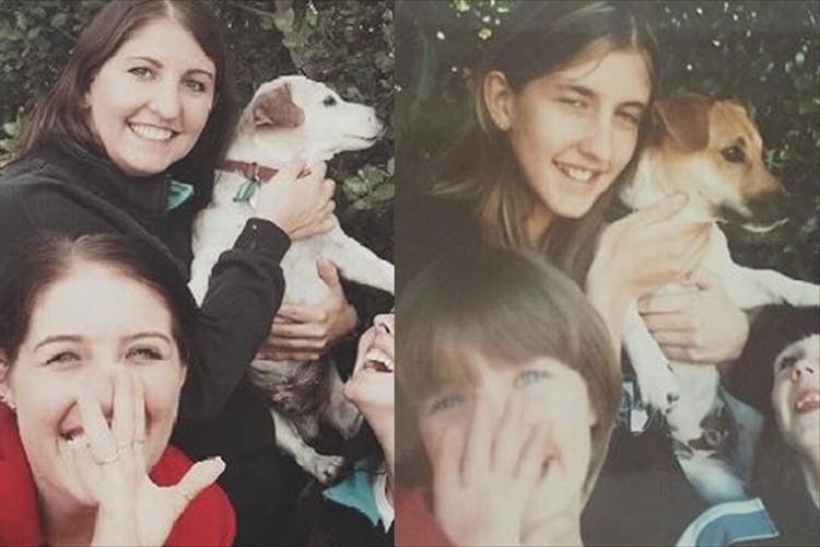 安楽死直前、4姉妹が愛犬と撮影した15年前の写真を再現…涙をこらえて笑顔で