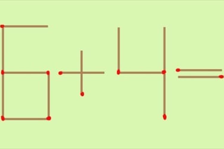 【頭の体操】「6+4=4」マッチを1本だけ動かして成立させてください。