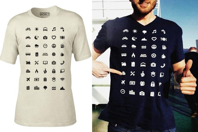 これさえあればほぼ伝わる。40のアイコン付きTシャツで世界中どこへでも