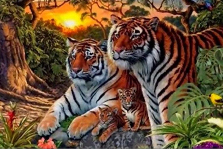 【クイズ】この絵の中に虎が何匹いるか分かりますか!?思っていたよりも多かった…。