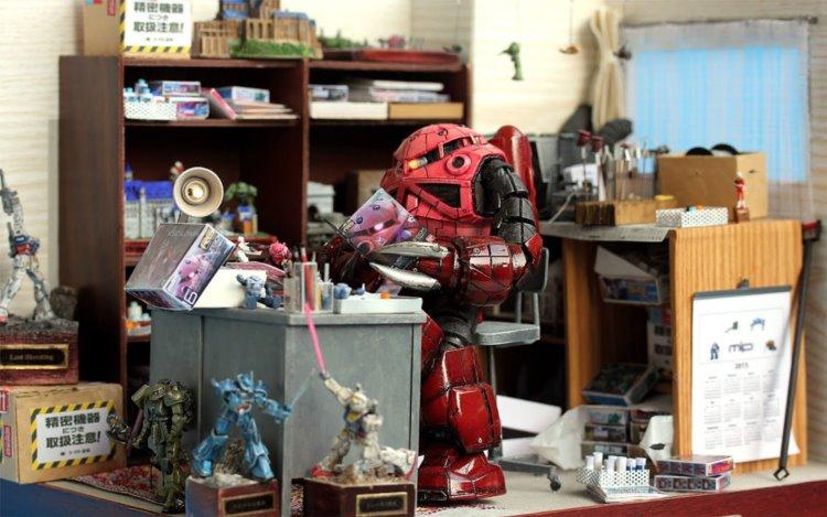 ガンダムファン歓喜!シャア専用スゴックさんのお部屋をジオラマで再現してみた