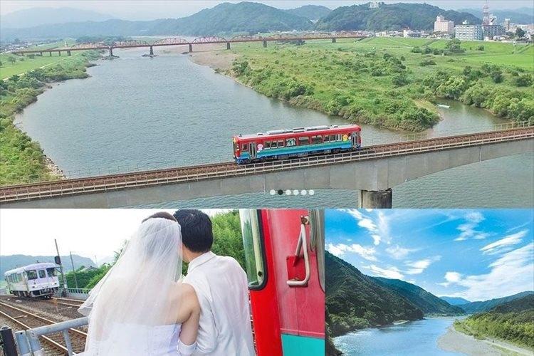 """日本最後の清流 """"四万十川を見下ろしながら結婚式"""" 川に架かる橋の上で臨時停車!"""