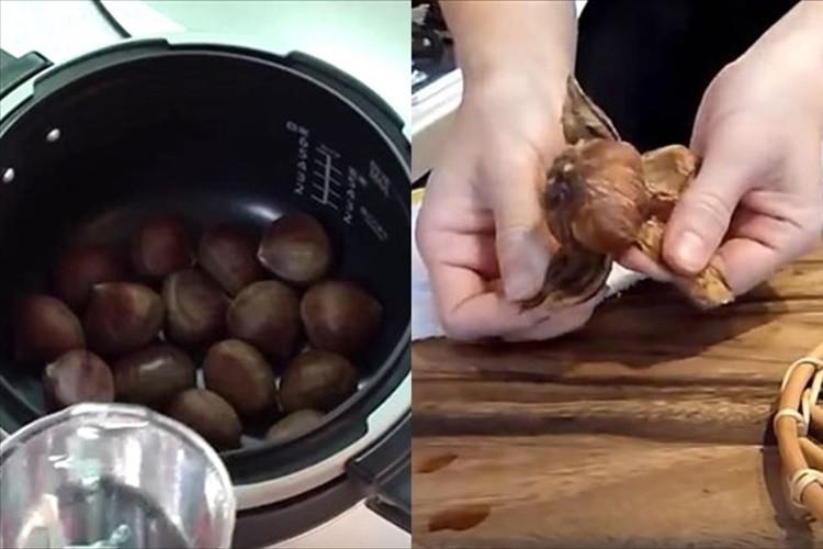 """これはカンタン! 圧力鍋使用で栗の皮が""""みかんの皮のようにペロンと剥ける! """""""
