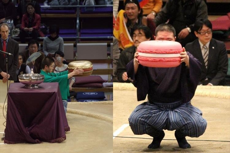 「でかっ!」大相撲で優勝した鶴竜に贈呈された金のマカロンが話題に! 過去にはピンクも!?