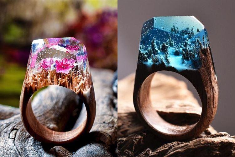 指輪の中には美しい景色が…!木と樹脂で作られた小さな世界にうっとり