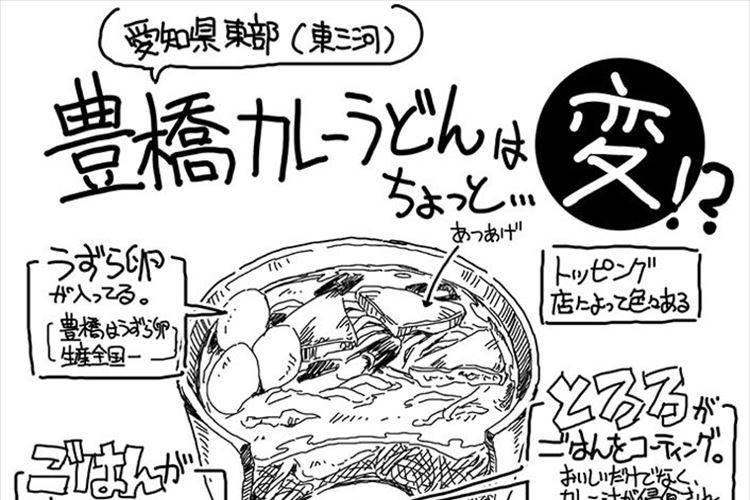 """愛知県豊橋市の""""珍しいカレーうどん""""を紹介する絵が話題! えっ!?カレーの下に…"""