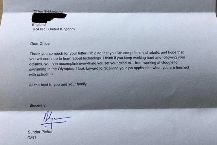 7歳の少女が「Googleのボスへ 将来ここで働きたい」と送ったら本物のCEOから返事がきた