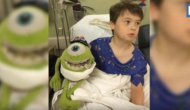 素晴らしき医師。少年のお気に入りのぬいぐるみと一緒に手術を受ける