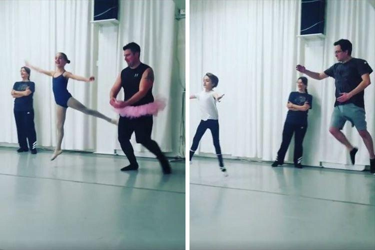 見よう見まねにジャンプ!バレエ教室に通う子どもと一緒にレッスンを受けるパパたちが可愛い