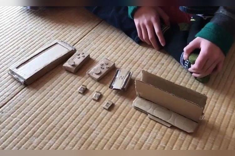 小5の弟、将来有望すぎる!ゲーム機をお母さんに買ってもらえなかったから段ボールで作っちゃった!