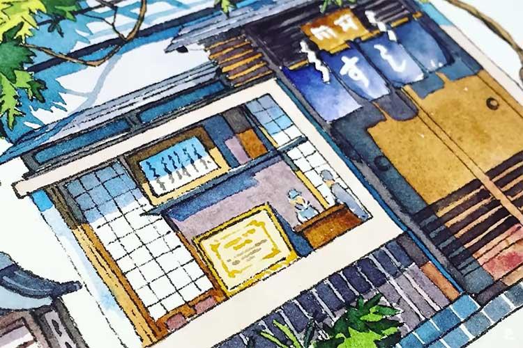"""『君の名は。』の背景スタッフが描く""""東京の昔ながらの商店街"""" 独特の色彩感で味わい深い"""