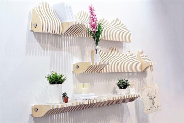 花瓶も上着も…収納したいものに応じて変幻自在に形を変える! 壁掛け本棚がナイスアイディア!