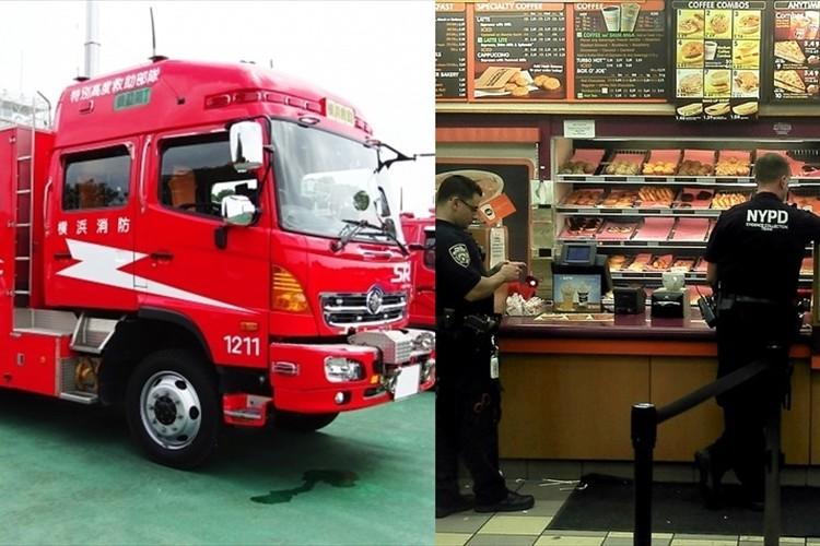 消防車で昼食に行くと大問題になる日本、一方アメリカでは制服警官がドーナツ食べるのが当たり前
