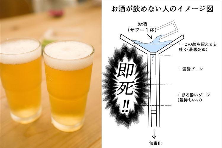 「まさにコレ! だから無理にすすめないでほしい」お酒を飲める人と飲めない人を比較した図解が話題に!