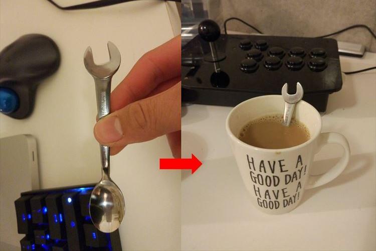 スパナをぶっ込んであるのかと…持ち手がスパナの形をしたユニークなスプーンが話題に!
