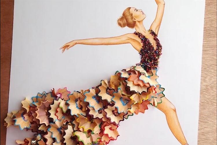 その発想はなかった!綿棒やトランプなど身近なものが華麗なドレスに大変身!
