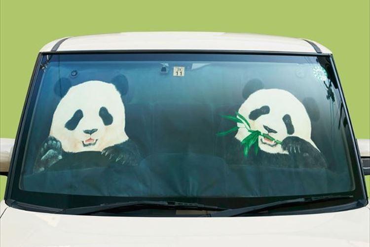 パンダが車を運転している!?かと…サンシェードならぬパンシェードが誕生!!