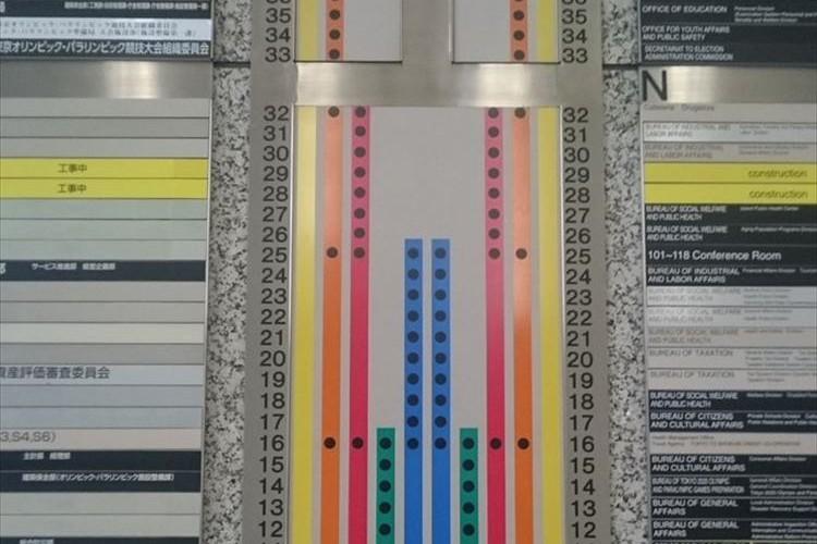 """「緑が各駅停車で…青が準急で…」都庁のエレベーターの案内板が""""私鉄の路線図""""のようだと話題に!"""