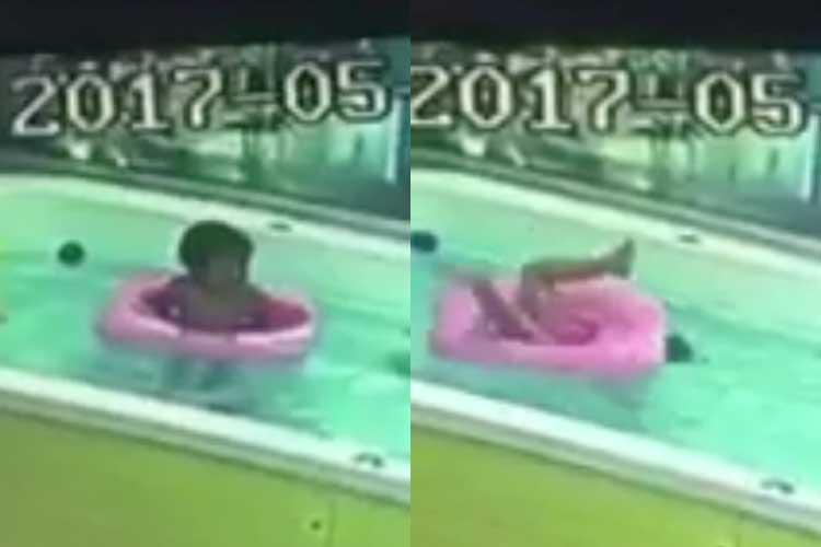 「早く気づいて!!」浮き輪をつけた男の子が転覆した衝撃の78秒。監視カメラが警告する事実