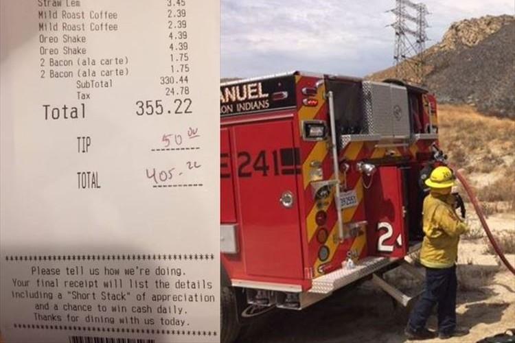 「日頃からの感謝の気持ちを…」匿名の女性が25人の消防士の食事代をおごっていた事が話題に!!