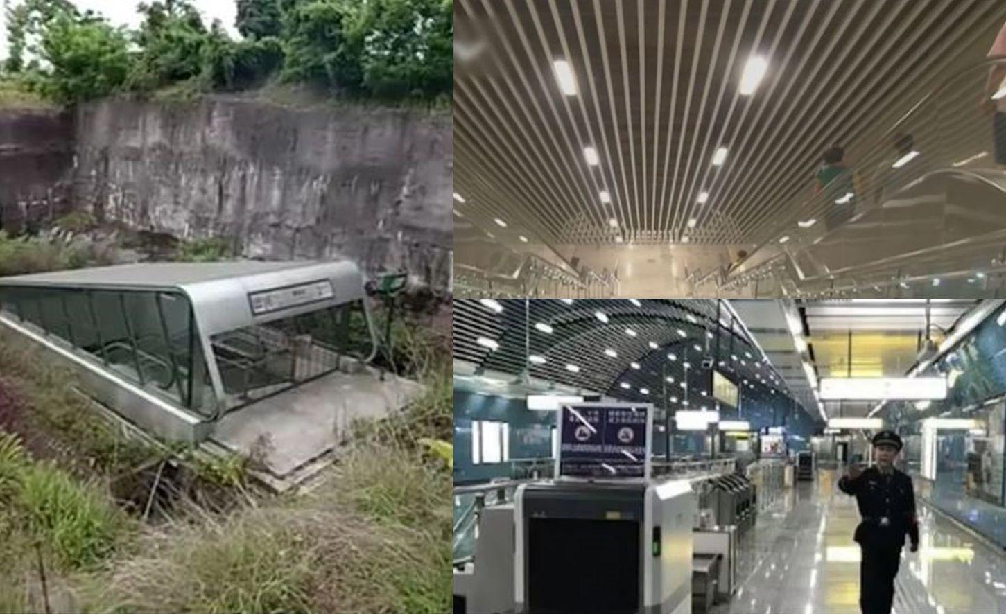 中国のとある地下鉄の駅…入り口と地下のギャップが凄まじい!「地下要塞みたいだ」