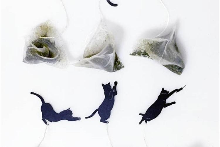 猫の切り絵がカワイイ♪ 美味しくて楽しい『ねこ茶ティーバッグ』切り絵は全6種