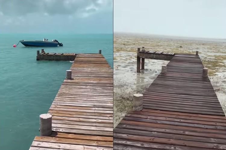 バハマの海が消えた?!史上最大級のハリケーン「イルマ」が海の水を吸いつくす!